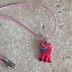 Little Girl Hot Pink Fawn Necklace on pink cord
